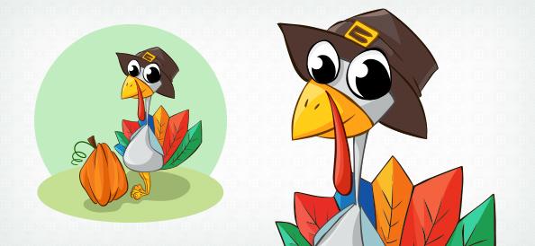 Vector Turkey Wearing Hat