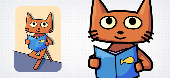 Cat Reading Book Vector Character