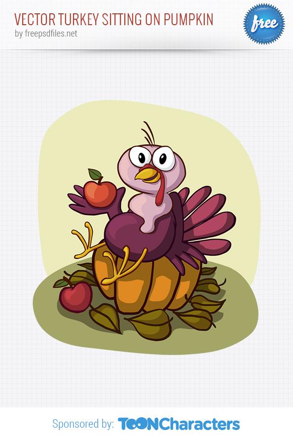 Vector Turkey Sitting on Pumpkin