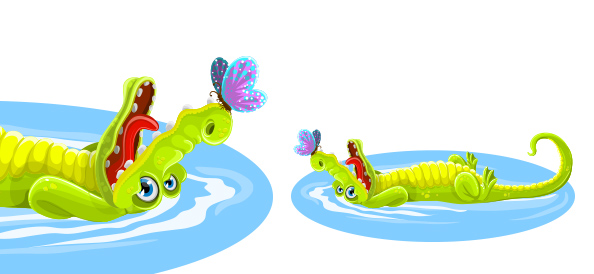 Free Cute Crocodile with Butterfly