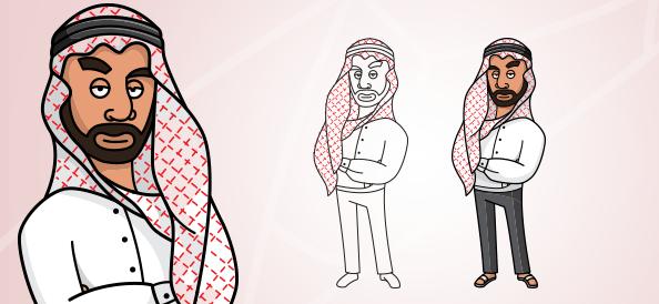 Arab Man Vector Character