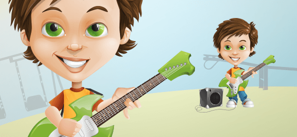 Character Design of a Boy with a Guitar