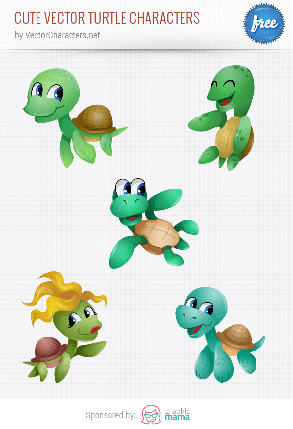 Cute Vector Turtle Characters