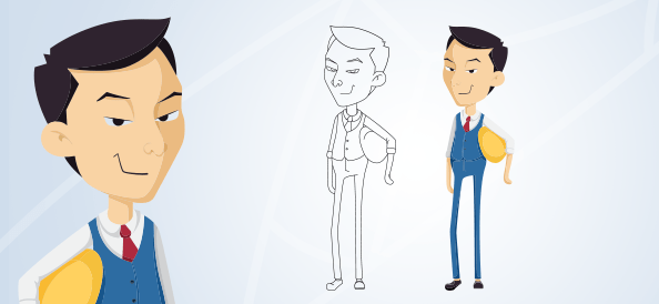 Asian Vector Businessman Character Holding a Safety Helmet