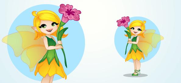 Vector Fairy Holding a Flower