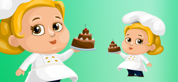 Chubby Female Cook With Cake