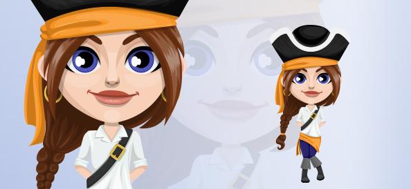 Adorable girl pirate cartoon