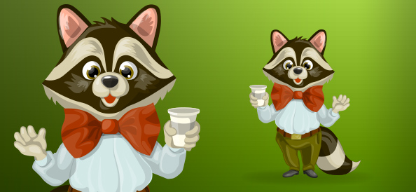 Chubby raccoon with bow tie