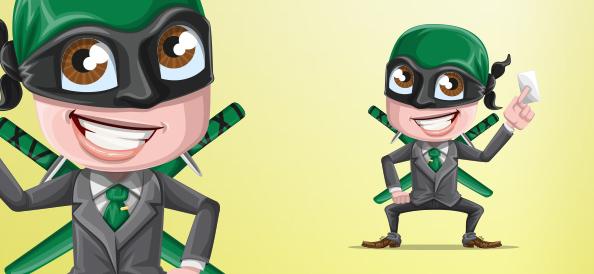 Businessman Ninja Vector Character