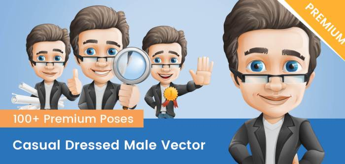 Male Vector Character With Glasses
