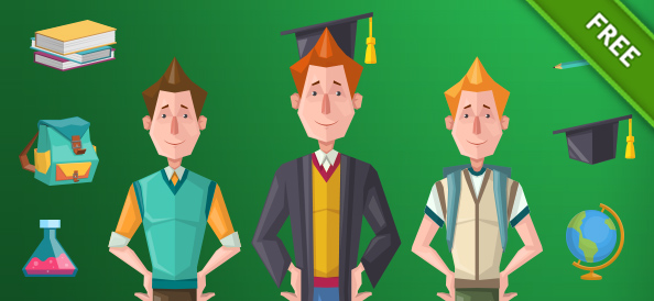 Student Vector Characters Set