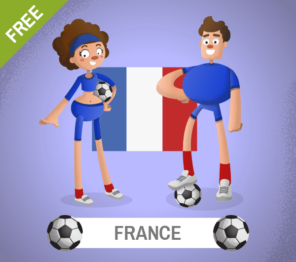 free france Soccer Cartoon Characters
