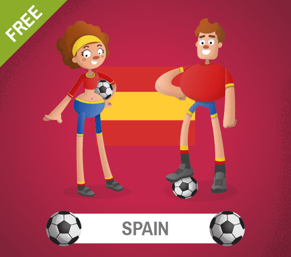 free spain Soccer Cartoon Characters