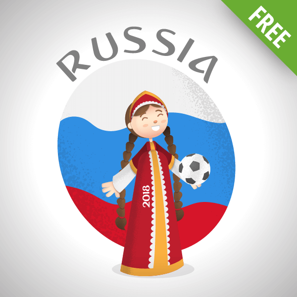 russia world cup vector Girl character
