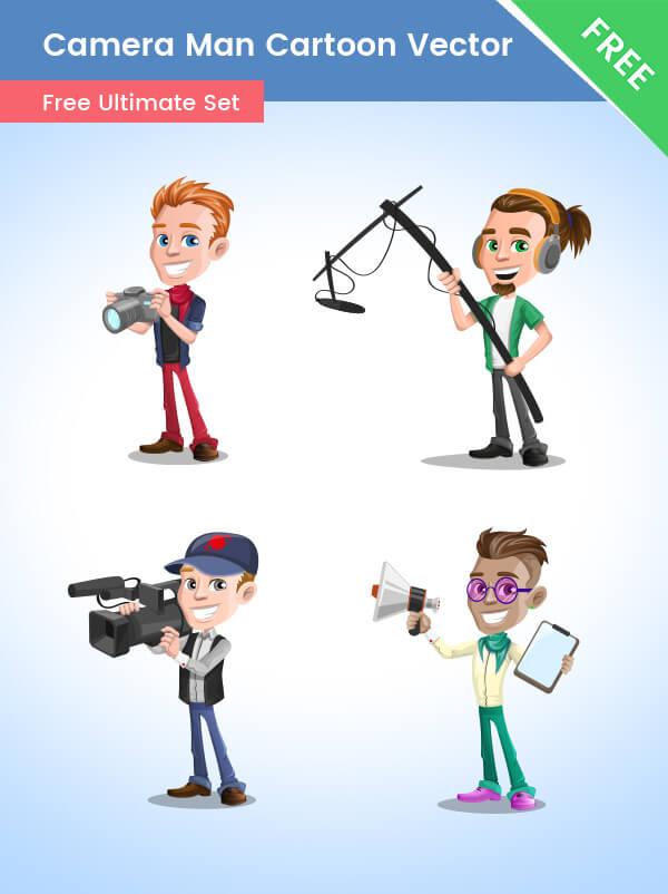 CameraMan Cartoon Vector Set
