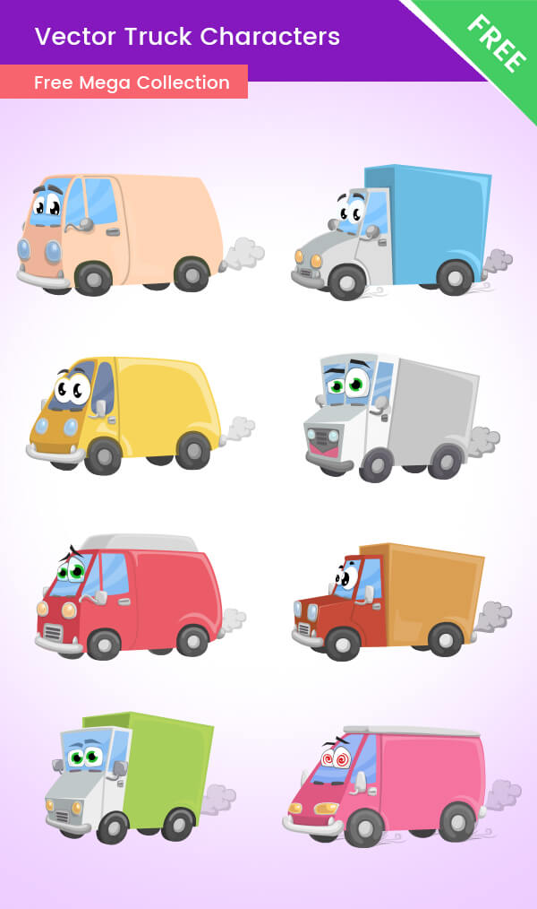 Cartoon Truck Characters - Free mega collection preview