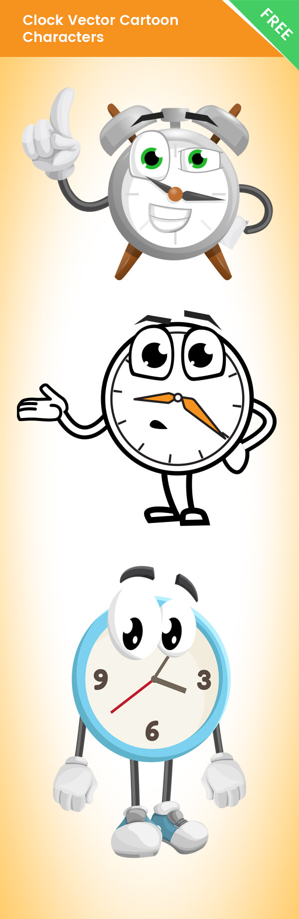 Clock Vector Cartoon Characters - Free Collection