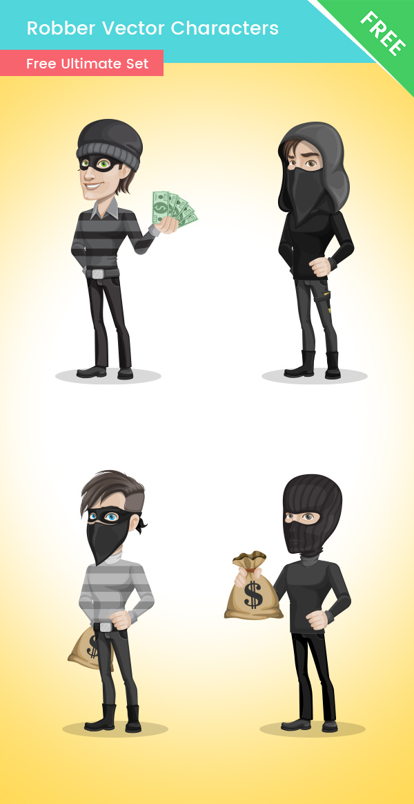 Robber Cartoon Vector Set big preview