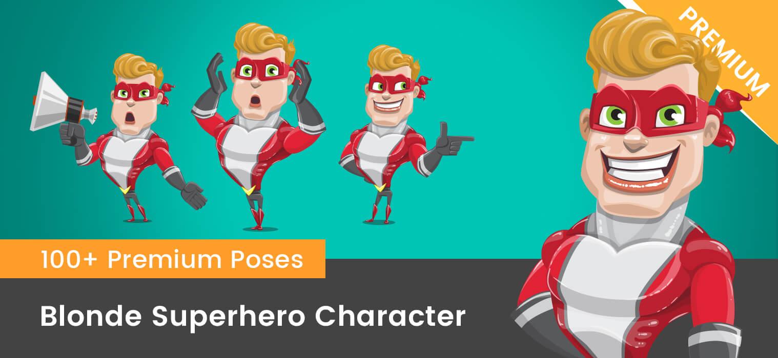 Blonde Superhero Vector Cartoon