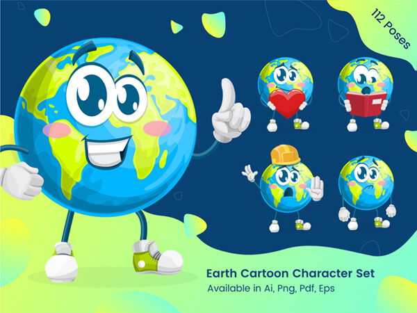 Earth Cartoon Character Set - by GraphicMama