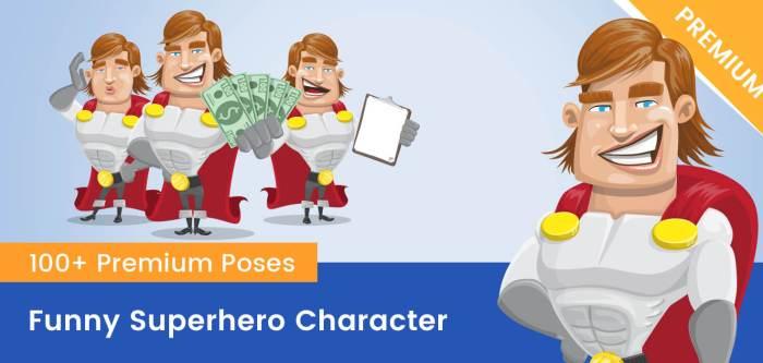 Funny Superhero Vector Cartoon