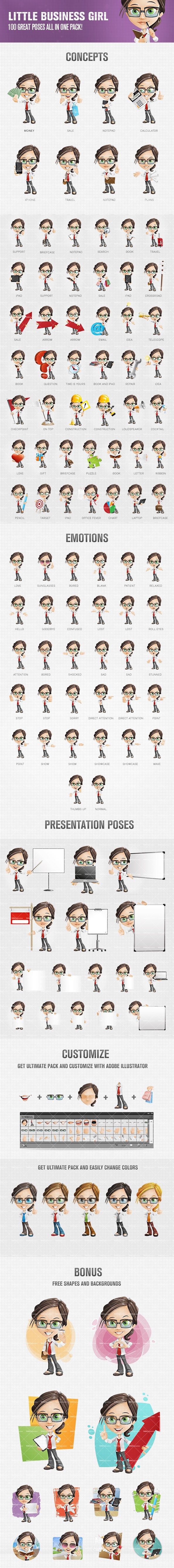 Geeky Girl Vector Set
