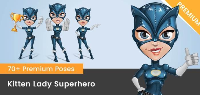Kitten Lady Superhero Vector