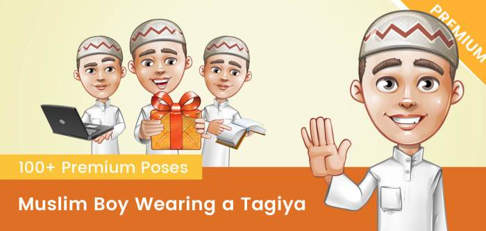 Muslim Vector Boy Wearing a Tagiya