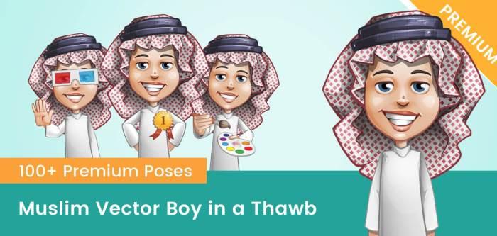Muslim Vector Boy Dressed in a Thawb