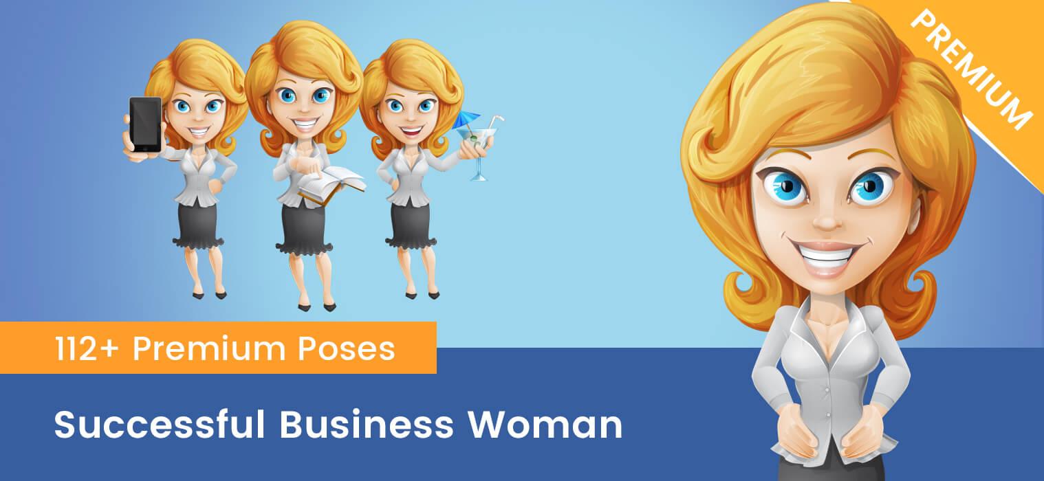 Successful Business Woman Cartoon