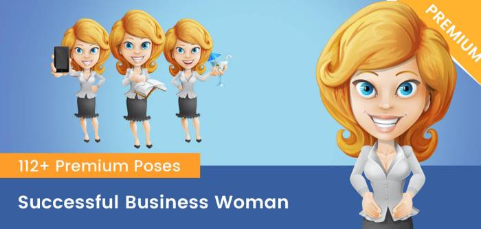 Successful Business Woman Cartoon