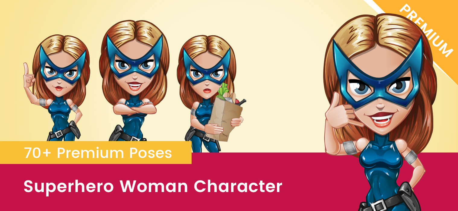Superhero Woman Vector Cartoon