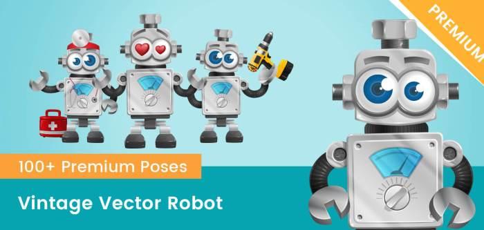 Vintage Robot Vector Cartoon