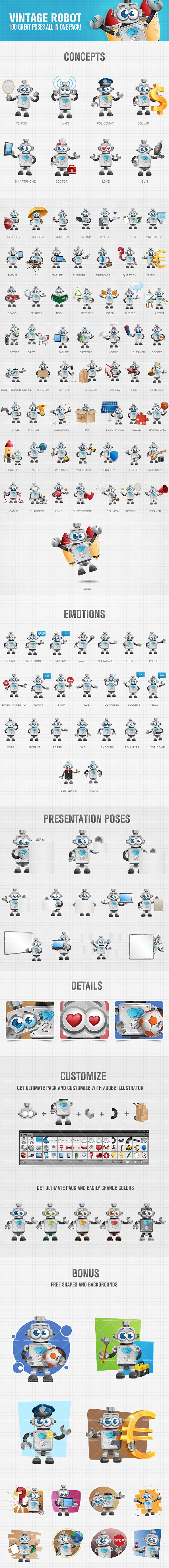 Vintage Robot Vector Cartoon