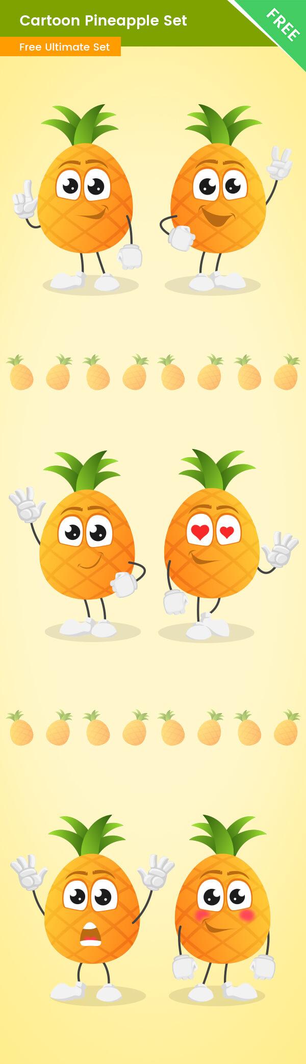 Cartoon Pineapple Vector Set