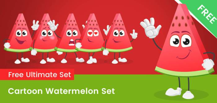Cartoon Watermelon Vector Set