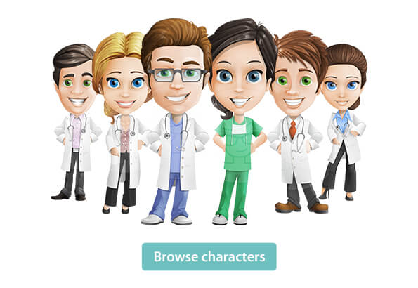 Doctor cartoon characters - medical graphics