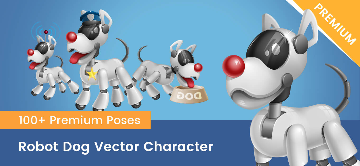 Robot Dog Vector Cartoon