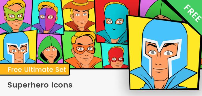 Superhero Icons Vector
