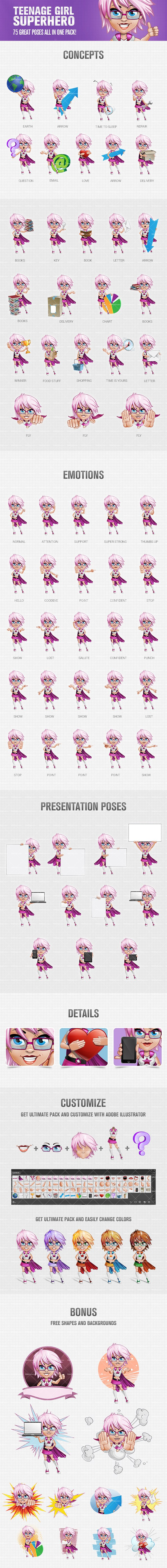 Teen Superhero Girl Vector Character