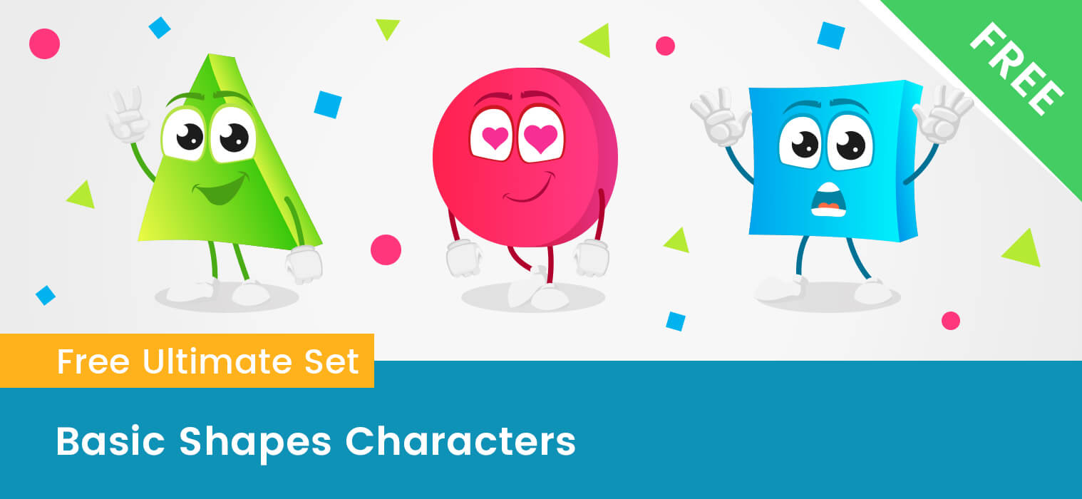 Basic Shapes Cartoon Characters Collection