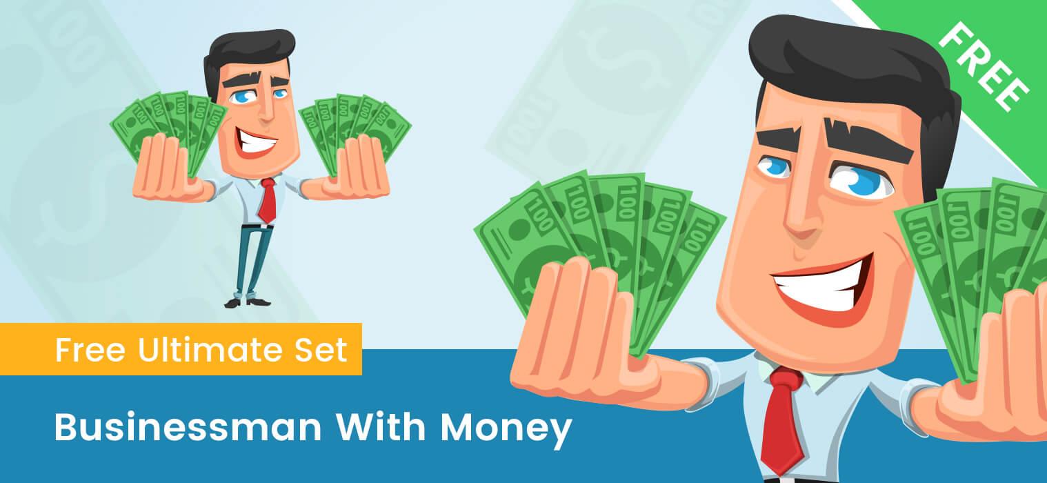 Businessman With Money Cartoon