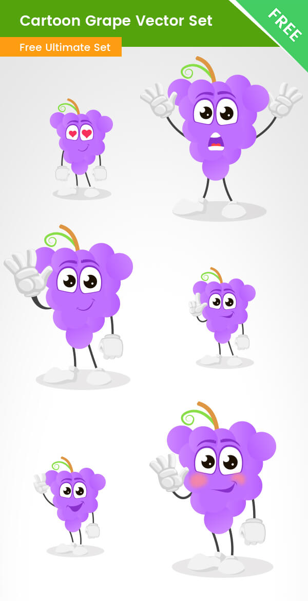 Cartoon Grape Vector Set
