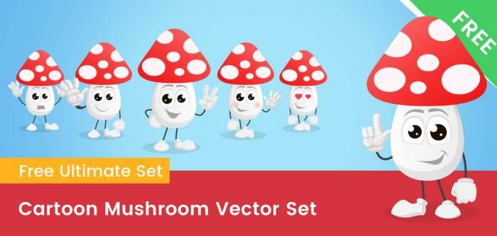 Cartoon Mushroom Vector Set