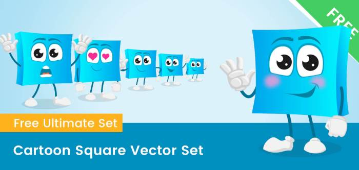 Cartoon Square Vector Set
