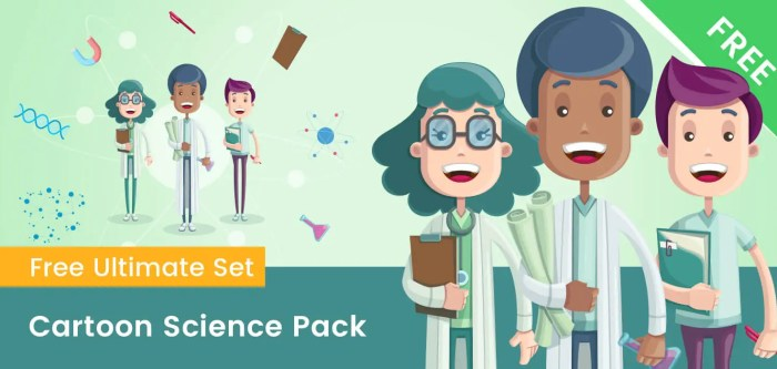 Cartoon Scientist Characters Set