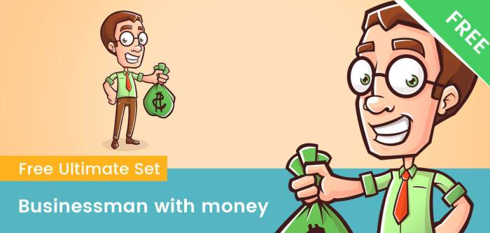 Business Cartoon Character With Bag of Money