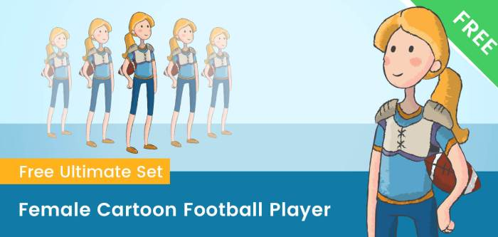 Female Cartoon Football Player
