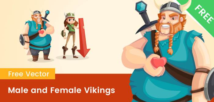 Male and Female Viking Cartoon Characters