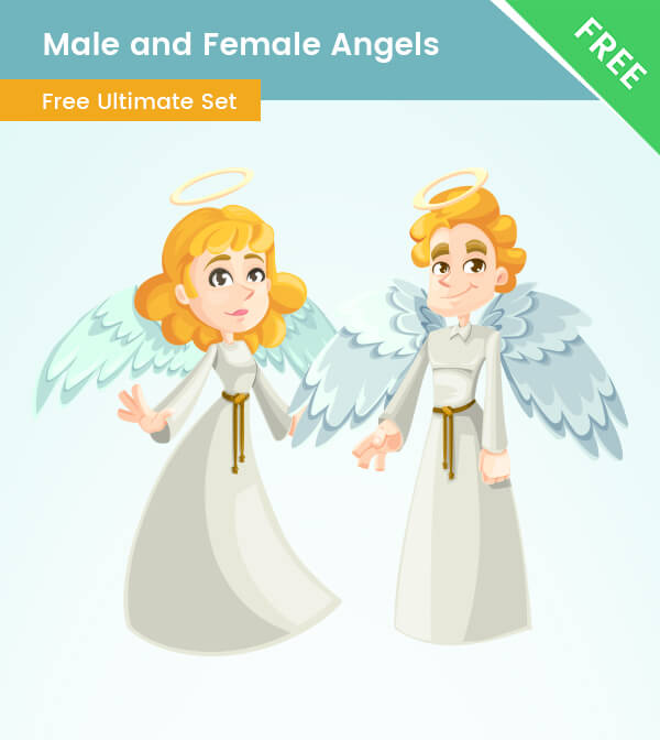 Male and Female Cartoon Angel Characters - VectorCharacters
